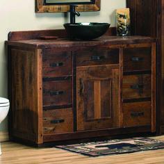 Timber Frame Barn Wood Vanity Reclaimed Barn Wood Vanity made from real reclaimed barnwood Reclaimed Wood Bathroom Vanity, Corner Bathroom Vanity, Bathroom Vanities For Sale, Bathroom With Makeup Vanity, Rustic Vanity, Bathroom Vanity Cabinets, Bathroom Ideas, Dresser Sink, Boho Bathroom