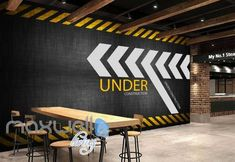 Wall art wallpaper - wallpaper graphic design of under construction sign Art Wall Murals Wallpaper Decals Prints Decor – Wall art wallpaper Industrial Wall Art, Industrial Interior Design, Industrial Interiors, Office Interior Design, Gym Design, Wall Design, Construction Signs, Construction Business, Construction Birthday