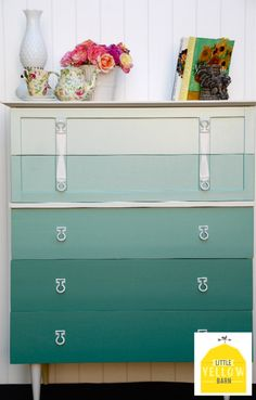 DIY teal ombre dresser, but maybe a different color...