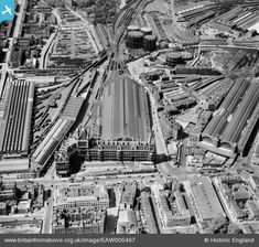 Kings Cross & St Pancras with train works left of St Pancras Station where British Library is now. Britain From Above