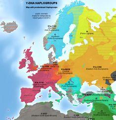 Genetic map of Europe with DNA Haplogroups.