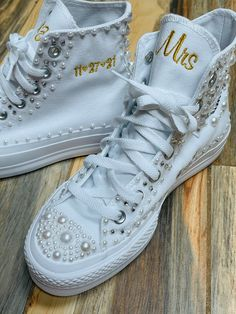 Excited to share this item from my #etsy shop: Platform Hi Top Pearl shoes, Embroidered sneaker, Bling Bat Mitzvah shoes, Wedding Bling Sneakers, Bride shoes, Sweet 16 Bling Wedding, Monogram Wedding, Wedding Shoes, Monogram Converse, Converse Hi, All White Shoes, Wedding Sneakers, Pearl Shoes, Bride Shoes