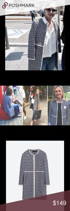 Zara #thatcoat Printed Ecru White Blue Coat Currently sold out online $149 + tax Seen on bloggers #THATCOAT Brand new with tags! Zara Printed Coat Ref. 2314/640 size S color Ecru / Blue Round-neck coat. Side pockets. 3/4 sleeves. Contrasting edging. COMPOSITION OUTER SHELL 89% cotton, 10% polyester, 1% elastane LINING 100% viscose Zara Jackets & Coats