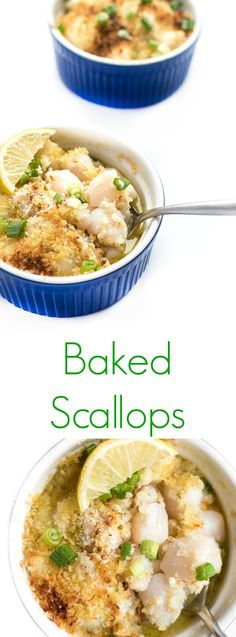 Bay scallops are tossed in butter and coated in a lemon and garlic panko topping then baked until golden and bubbly.