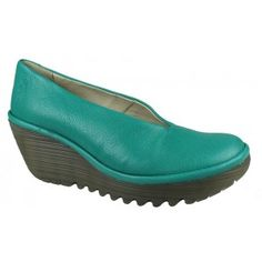 I want these shoes so bad. But cannot find them in the US. Maybe I should just take a trip. Fly London Yaz Peacock Leather Chunky Wedge Platform Casual Slip On Shoe