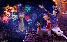 Watching the beautiful #fireworks in the Land of the Dead in this #wallpaper from #Coco :]