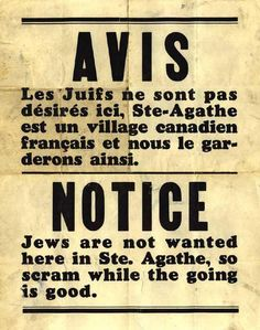 Canada- 1930-1940 Discrimination against the Jews
