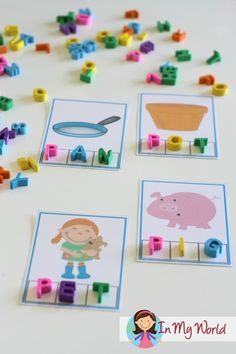 Kindergarten-- FREE Letter P CVC Phoneme Segmentation Cards. Such a fun word work center for kiddos learning to read! Kindergarten Centers, Preschool Letters, Preschool Printables, Kindergarten Literacy, Alphabet Activities, Literacy Activities, Toddler Activities, Literacy Stations, Literacy Centers