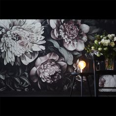 Dark Floral II Black Desaturated XXL (300%) Wallpaper by Ellie Cashman Design