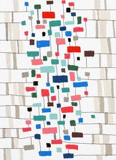Ophelia Pang, illustratrice. Geometria e colore che si rincorrono, sul piano, a formare pattern perfetti per tessuti inediti da complemento d'arredo #DesignOutfit #PaneEDesign