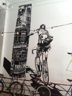 Black & White Cycling mural in Bike Shop, Barcelona