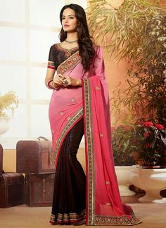 Brown N Pink Half N Half #Saree