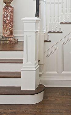 square newel post on round bottom step - Ostern Dekoration Garten Beton White Staircase, Staircase Railings, Banisters, Staircase Design, Stairways, Stair Newel Post, Stair Posts, Newel Posts, Square Newel Post