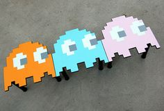 Pacman ghost table small end table side Red Teal Blue Orange And