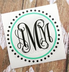 Monogrammed Decal | Personalized | Vine Monogram | Circle Monogram | Laptop Monogram | Car Monogram | Tumbler Monogram | Notebook Monogram by WestTXDesigns on Etsy https://www.etsy.com/listing/253743278/monogrammed-decal-personalized-vine