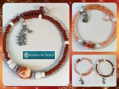 Silver Dragon Charm Gemstone Bracelet, Stone Bracelet, Her Dragon Jewelry, Her Wrap Bracelet, Red Orange Brown, Statement Bracelet