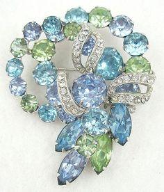 Eisenberg Aqua & Light Blue Rhinestone Brooch - Garden Party Collection Vintage Jewelry