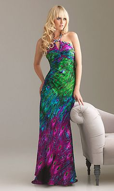 Unique Peacock Print Dress by Night Moves at SimplyDresses.com