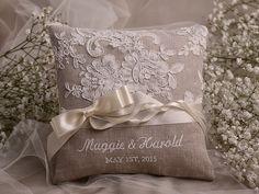 Cesto di fiori & Ring Bearer Pillow Set Shabby di forlovepolkadots