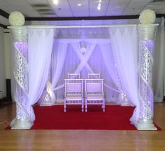 Lighted Crystal Columns Mandap by Sarita Goel, Wedding Designer Altar Decorations, Indian Wedding Decorations, Wedding Reception Decorations, Decor Wedding, Event Decor, Wedding Designs, Entrance, Curtains, Columns