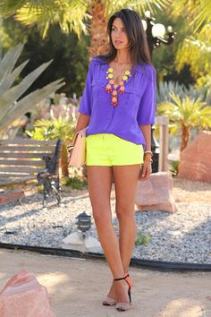 j crew purple blouse with neon shorts