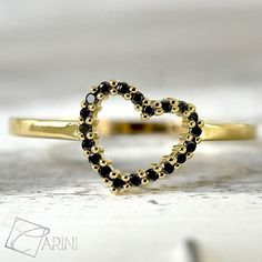 How to make the Valentines Day memorable! Heart ring in yellow gold, available also in rose or white gold, with black diamonds  18 kt. Weight 0.17ct #freeshipping ✈info on whatsapp +39 3389170985 ✉info@carinigioielli.com #carinigioielli #diamonds #heart #jewelry #fashion #girl #shopping #buy #gifts #valentinesday #promisering #wedding #wedding #ring #ringforgirlfriend #etsy #etsyshop #etsyseller