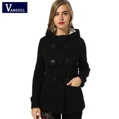 Winter Coat Women 2017 New Fashion Women Wool Blends Slim Hooded Collar Zipper Horn Button Long Coats Outerwear special button  Brand Name:vangull   #woman_clothes#Winter_clothes#Coat #Style #fashion #popular #beautifulr #Brand Name:vangull