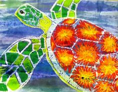 warm/cool turtles with oil pastels and WC resist