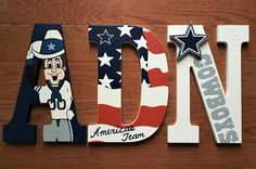 Personalized Hand-Painted TEXAS DALLAS COWBOYS NFL FOOTBALL TEAM Wood Letters by SweetDreamsLetters on Etsy