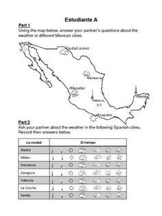 Spanish speaking countries partner worksheet (excludes