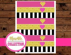 Bridal Shower STRAW FLAGS - Pink and Gold - Bridal Collections