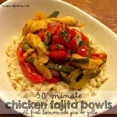 Easy 30 Minute chicken fajita bowls recipe with fresh homemade pico de gallo