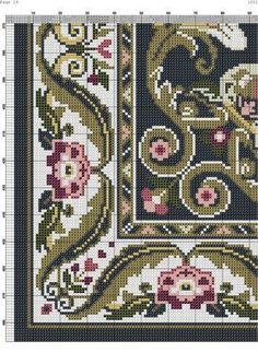 People with hand sewing skills were actually highly preferred long before the development of tabletop and handheld sewing machines. Cross Stitch Designs, Cross Stitch Patterns, Art Nouveau Pattern, Palestinian Embroidery, Patterned Carpet, Cross Stitching, Needlepoint, Rugs On Carpet, Hand Embroidery