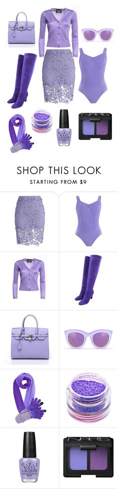 """""""Lavender"""" by krisalynj ❤ liked on Polyvore featuring Chicwish, Boutique Moschino, Tamara Mellon, Quay, Medusa's Makeup, OPI and NARS Cosmetics"""
