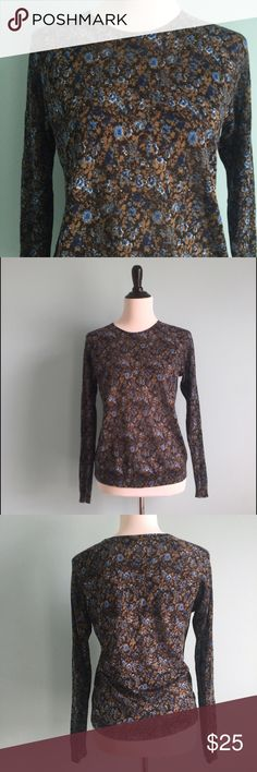 LOFT Brown & Blue Floral Sweater Beautiful, simple brown and blue floral crew-neck sweater. Thin and comfortable. In excellent condition. Size medium by Ann Taylor LOFT. LOFT Sweaters Crew & Scoop Necks