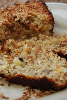 Oh my goodness, ~~ Toasted Coconut Pineapple Pecan Banana Bread.you had me at toasted coconut pineapple. Just Desserts, Delicious Desserts, Yummy Food, Coconut Recipes, Banana Bread Recipes, Bananas, Breakfast Recipes, Dessert Recipes, Breakfast Muffins