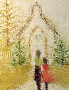 Holly Irwin- 'Country Chapel', oil & mixed media