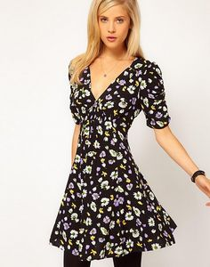 ASOS Skater Dress In Floral Print With Ruched Sleeves by ASOS