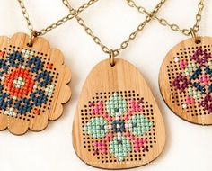 Cross Stitch Pendant Class at Home Made
