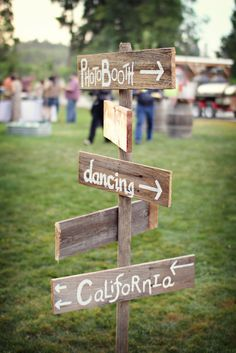 Country Wedding- directional sign hand painted on old fence boards