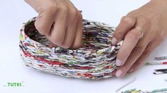 TUTKI™ TUTORIAL Oval basket -  how to weave an oval basket out of Tutki ™ newspaper rolls for Weaving