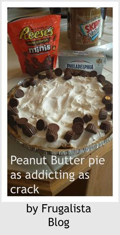 Peanut Butter Pie by @Frugalista Blog Yum. Yum. and YUMMMMMMMM.