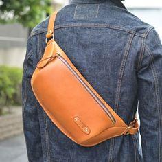 立体マチ・ボディバッグ(F-5) Belt waist hip  bag purse Fanny pack leather