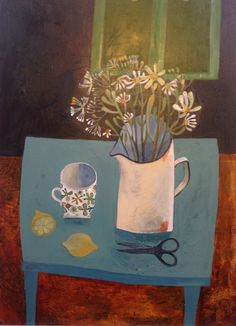 blue table with lemons, Este MacLeod painting