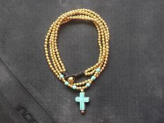 Small vintage 2 in 1 chain brass beads turquoise by Nannapatt, $12.50