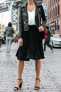 Black Leather Jacket Black Pleated Midi Skirt Saint Laurent Burgundy Velvet Bag Black Ankle Strap Heeled Sandals Fashion Jackson Dallas Blogger Fashion Blogger NYFW Dumbo Bridge