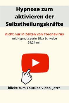Selbsthypnose: Hypnose zur Aktivierung der Selbstheilungskräfte, Video auf Youtube. Diese Hypnose / Trancereise ist eine Möglichkeit die Selbstheilungskräfte zu aktivieren. Nicht nur in Zeiten von Coronavirus, sondern auch allgemein bei Krankheiten. Eine tolle Aktion von Hypnotiseurin Silva Schwabe. #hypnose #selbsthypnose #corona #coronavirus #covid19 #silvaschwabe #hypnotiseurin #youtube #hypnosemp3 #mp3 Videos, Meditation, Youtube, Corona, Self Discovery, Medical Conditions, Action, Amazing, Health