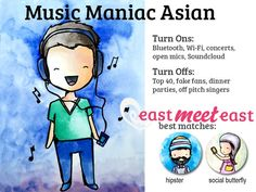 I'm a Music Maniac Asian! What type of Asian are you, and who are you most compatible with? Take EastMeetEast's fun zodiac-inspired quiz here! https://www.facebook.com/pages/eastmeeteastcom/565982140109779