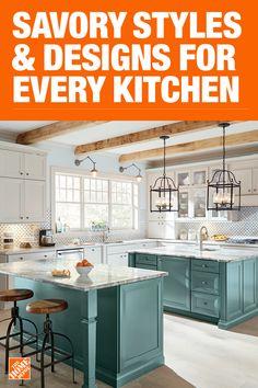 Kitchen Lighting Fixtures & Ideas - The Home Depot Kitchen Redo, Home Decor Kitchen, Interior Design Kitchen, Country Kitchen, Home Kitchens, Kitchen Dining, Kitchen Remodel, Kitchen Island, Kitchen Cabinets