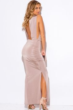 Caitlyn Mocha Cut Out Draped Maxi Dress